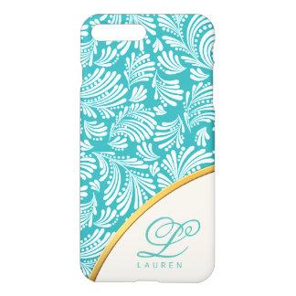 Abstract Floral Elegant Blue Ladies Monogram iPhone 8 Plus/7 Plus Case