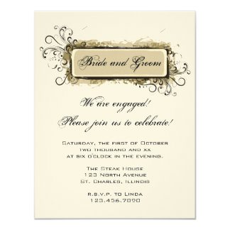Abstract Floral Engagement Party Invitation