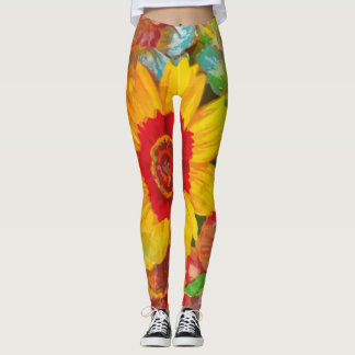 Abstract Floral Flower Pants Yellow Red Blue Green