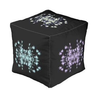 Abstract Floral Graphic Black Blue Purple Green Pouf