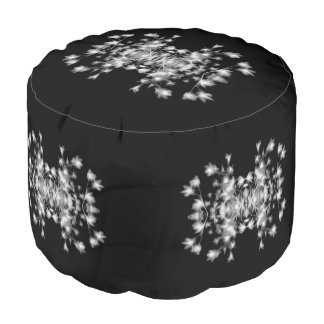 Abstract Floral Graphic Pattern Black and White Pouf