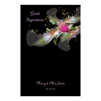 Abstract Floral Guest Signature Poster