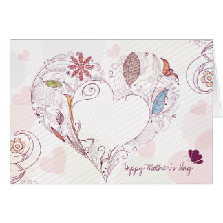 Abstract floral heart happy mother's day card