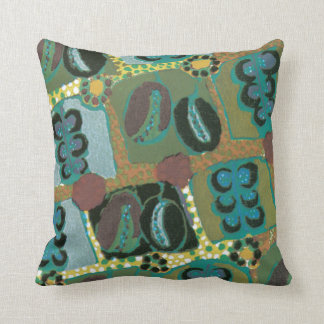 Abstract Floral in Teal Throw Pillow