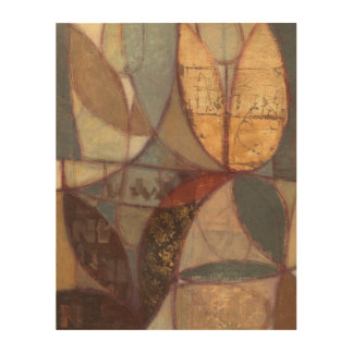 Abstract Floral Leaf Painting by Norman Wyatt Wood Print