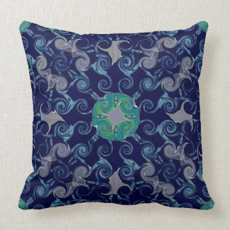 Abstract Floral Luxury Cushion Blue Pillow