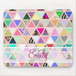 Abstract Floral Monogram Triangle Pastel Patchwork
