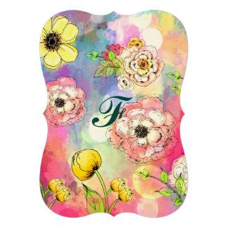 Abstract floral multi color drip paint art cute 13 cm x 18 cm invitation card