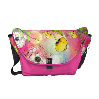 Abstract floral multi color drip paint art cute courier bags