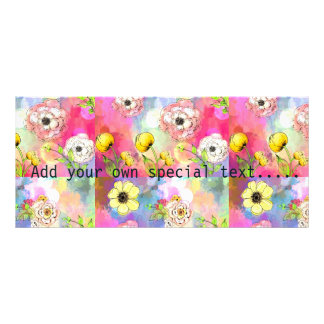 Abstract floral multi color drip paint art cute custom rack cards