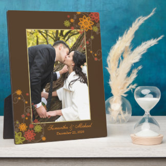 Abstract Floral Newlyweds Gift Wedding Photo Plaque