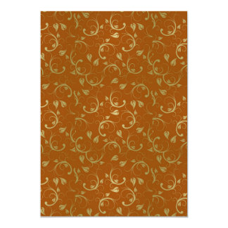 """Abstract-Floral-Pattern1 ABSTRACT GOLDEN RUST FLOR 5"""" X 7"""" Invitation Card"""