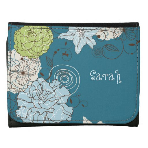 Abstract Floral Personalized Wallet