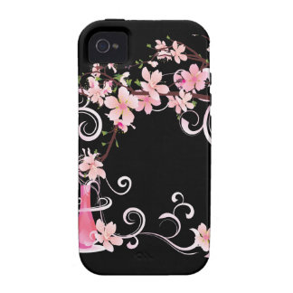 Abstract Floral Pink Blossoms with Vase Case-Mate iPhone 4 Covers