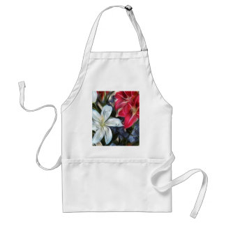 Abstract Floral Print Lilies and Orchids Apron
