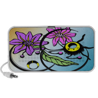 Abstract Floral - Purple & Pink Doodle iPod Speakers