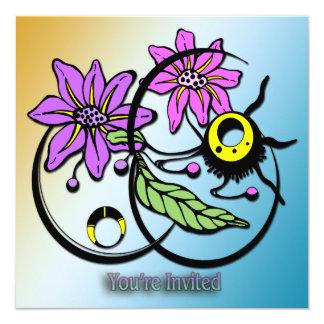"Abstract Floral - Purple & Pink Invitation 5.25"" Square Invitation Card"