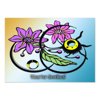"Abstract Floral - Purple & Pink Invitation 5"" X 7"" Invitation Card"