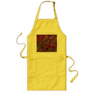 Abstract Floral Red and Brown with Grunge Stripes Long Apron