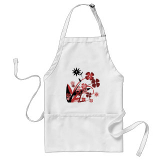 Abstract Floral red pink black Aprons