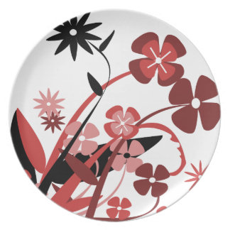 Abstract Floral red pink black Dinner Plate