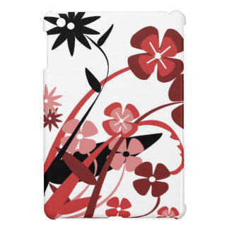 Abstract Floral red, pink, black iPad Mini Cases