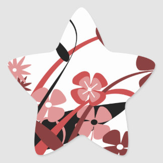 Abstract Floral red pink black Stickers