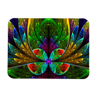 Abstract Floral Stained Glass 1 Rectangle Magnet