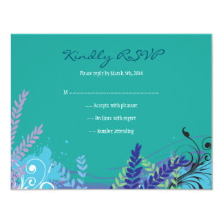 ABSTRACT FLORAL STAR Bat Mitzvah Reply RSVP Card 11 Cm X 14 Cm Invitation Card