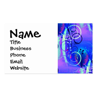 Abstract Floral Swirl Blue Purple Girly Gifts Business Card Template