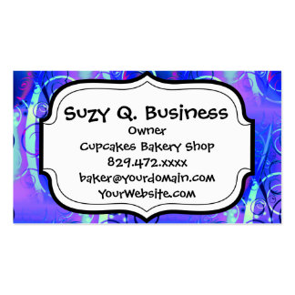 Abstract Floral Swirl Blue Purple Girly Gifts Pack Of Standard Business Cards