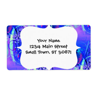 Abstract Floral Swirl Blue Purple Girly Gifts Shipping Label