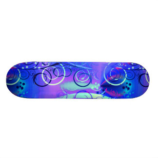 Abstract Floral Swirl Blue Purple Girly Gifts Skate Boards