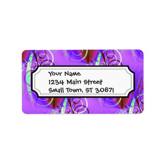 Abstract Floral Swirl Purple Mauve Aqua Girly Gift Address Label