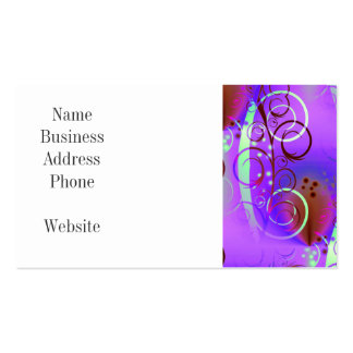 Abstract Floral Swirl Purple Mauve Aqua Girly Gift Pack Of Standard Business Cards