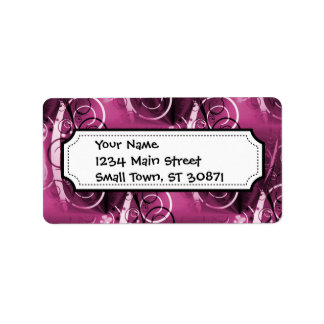 Abstract Floral Swirl Vines Deep Purple Girly Gift Address Label
