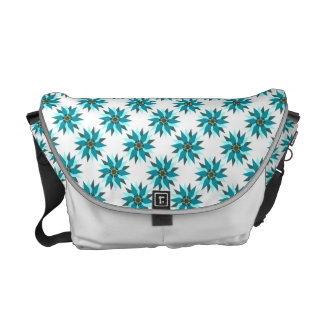 Abstract Floral Teal White Messenger Bag