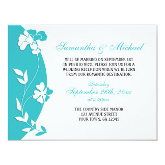 Abstract Floral Turquoise Reception ONLY 11 Cm X 14 Cm Invitation Card