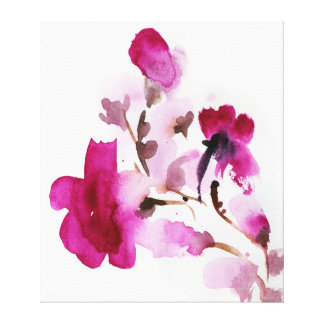Abstract floral watercolor paintings 4 stretched canvas print