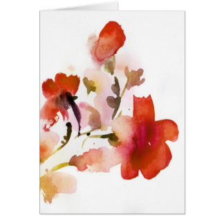 Abstract floral watercolor paintings card