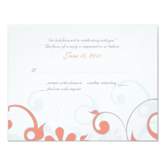 Abstract Floral Wedding Response Card 11 Cm X 14 Cm Invitation Card