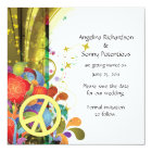 Abstract Florals and Peace Sign Save The Date Card