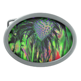 Abstract Flower Oval Belt Buckle