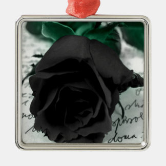Abstract Flower Black Rose Christmas Tree Ornament