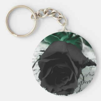 Abstract Flower Black Rose Letter Key Ring