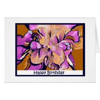 Abstract Flower Blank Happy Birthday Card