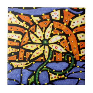 Abstract Flower Decorative Ceramic Tile Art