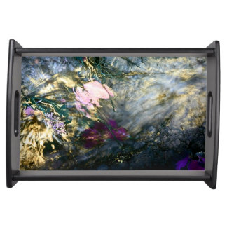 Abstract Flower in Water Serving Tray