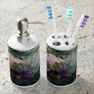 Abstract Flower in Water Soap Dispenser And Toothbrush Holder