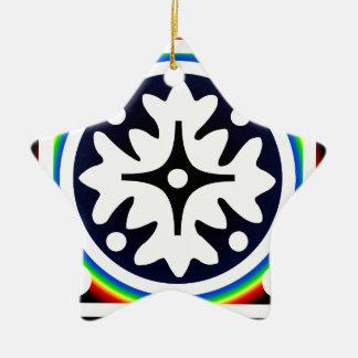 Abstract Flower Leaves Design Ceramic Ornament
